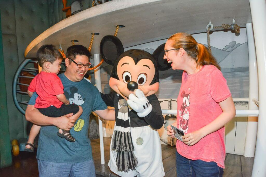 Meeting Mickey Mouse is one of our favorite Disneyland activities when exploring Disneyland with a toddler