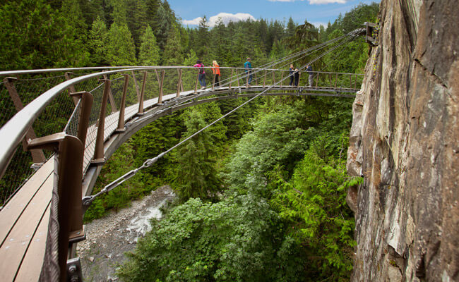 Visit the Cliffwalk at Capilano Suspension Bridge Park to see views of the Capilano River #vancouver #vancouverbc #britishcolumbia #visitvancouver #capilano #capilanosuspensionbridge #cliffwalk #pnw