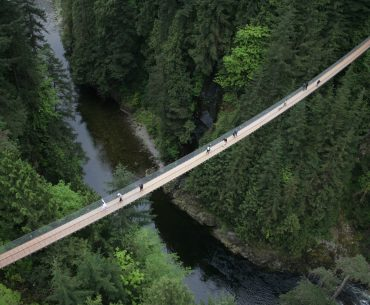 Aerial shot of the Capilano Suspension Bridge in North Vancouver, Canada