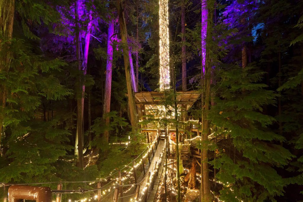 Photo of Canyon Lights at Capilano Suspension Bridge Park in Vancouver, BC Canada #holidays #christmas #christmaslights #vancouver #vancouverbc #canada #britishcolumbia #bc #capilano #capilanosuspensionbridgepark #capilanosuspensionbridge #canyonlights