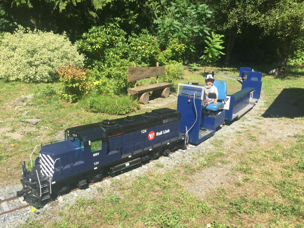 Photo of the mini rail and West Coast Railway Heritage Park in Squamish, BC Canada is fun when visiting Vancouver with Kids #westcoastrailway #train #canada #explorebc #squamish #britishcolumbia #vancouver #familytravel