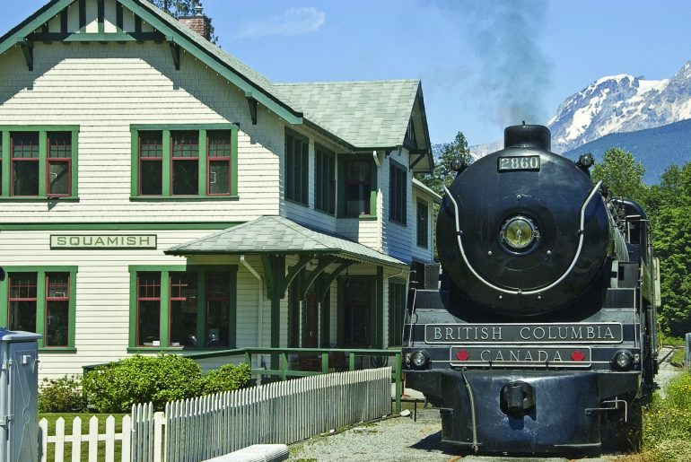 Photo of the Royal Hudson at the West Coast Railway Heritage Park in Squamish, BC, which is a fun place to go with kids in Squamish, British Columbia, Canada #exploresquamish #squamish #explorebc #vancouver #canada