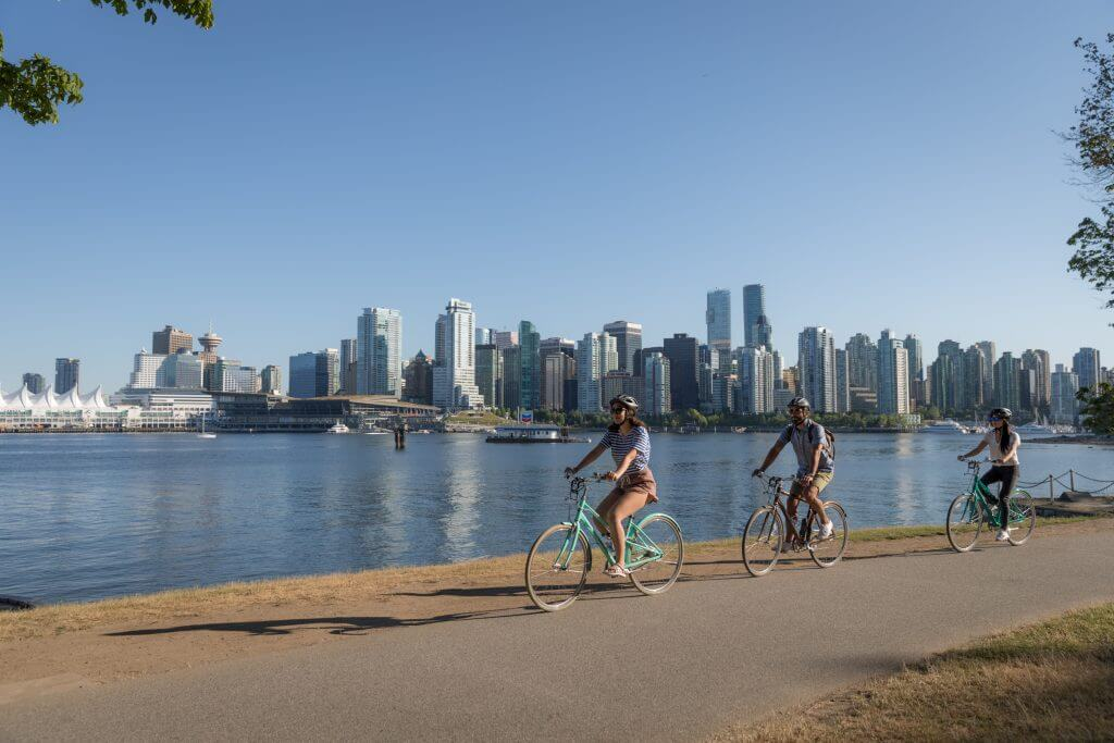 Rent a bike in Stanley Park vancouver, Stanley Park bike rentals in Vancouver, British Columbia in Canada #stanleypark #biking #vancouver #explorebc #britishcolumbia #pnw #canada