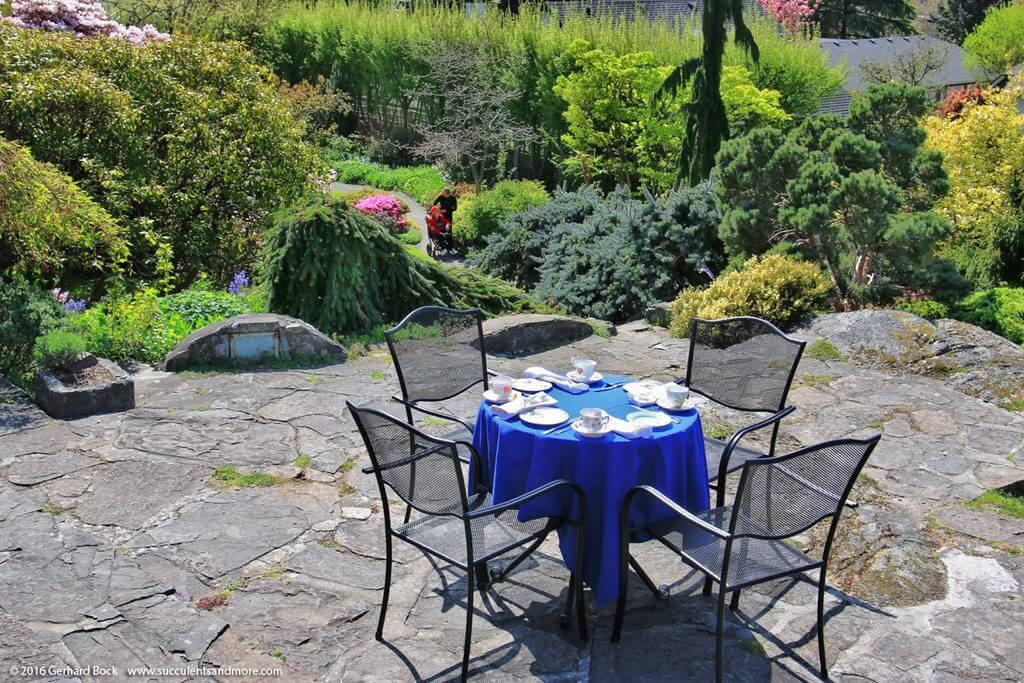 Photo of the Terrace of the Teahouse overlooking the gorgeous Abkhazi Garden near downtown Victoria BC.