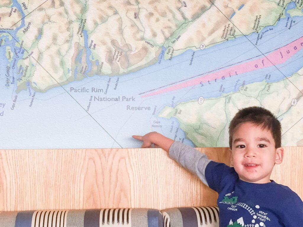 Photo of the wall map at Pierside Kitchen, one of the Semiahmoo Resort restaurants, which is great for kids #piersidekitchen #semiahmooresort #semiahmoo #blainewa