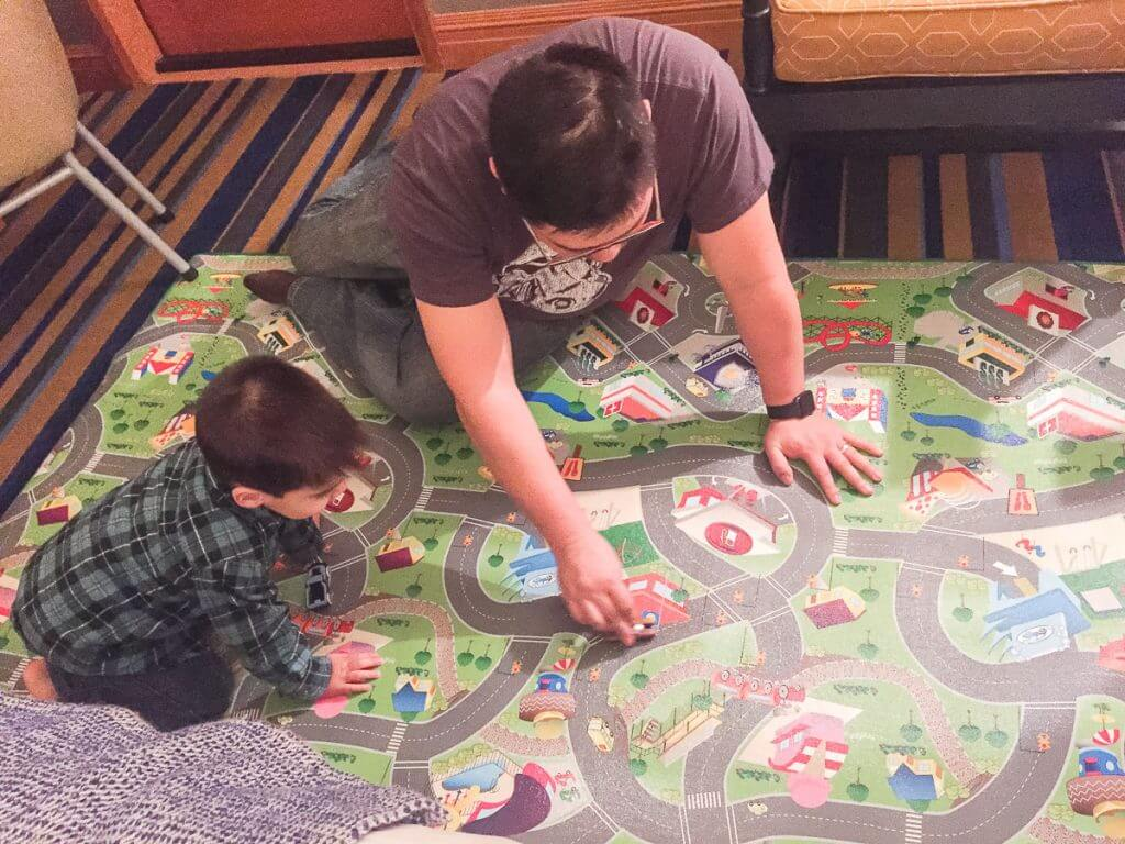 Photo of the awesome kid-friendly play mat available in our Semiahmoo Resort room in Washington State #semiahmoo #semiahmooresort #pnw #familytravel #kidfriendlyresort