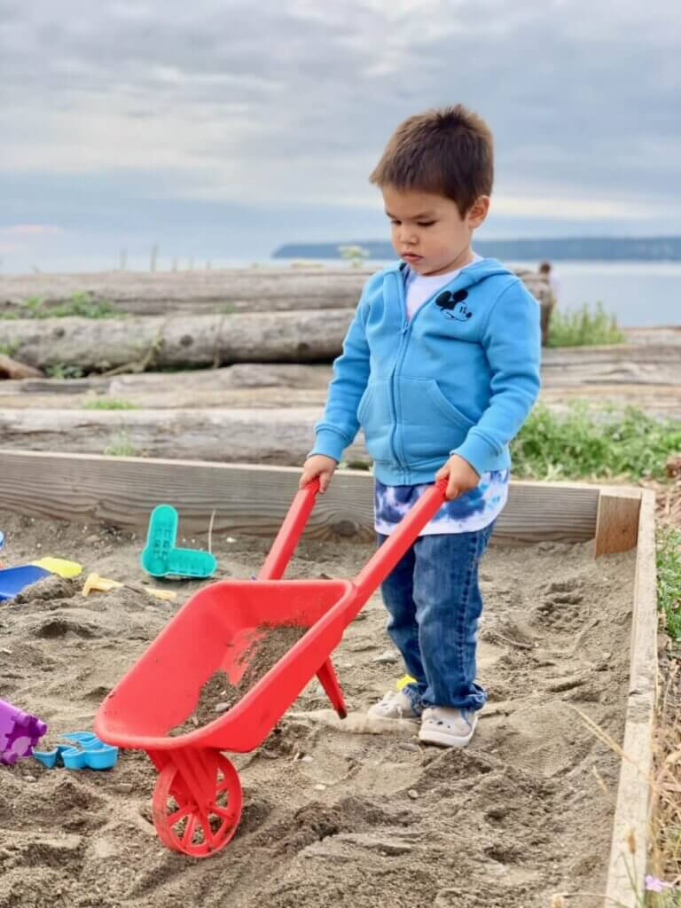 Semiahmoo Resort & Spa is a kid-friendly resort in Washington State with activities like this big sandbox filled with toys.