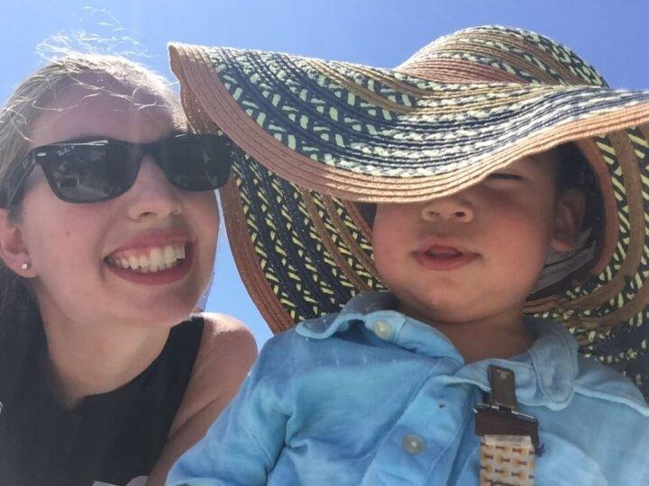 A Toddler in Santorini, Greece