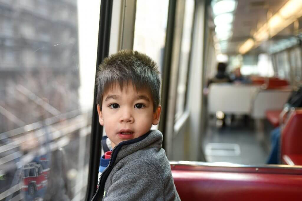 His first ride on the Seattle Monorail was easy! Photo credit: Darren Cheung
