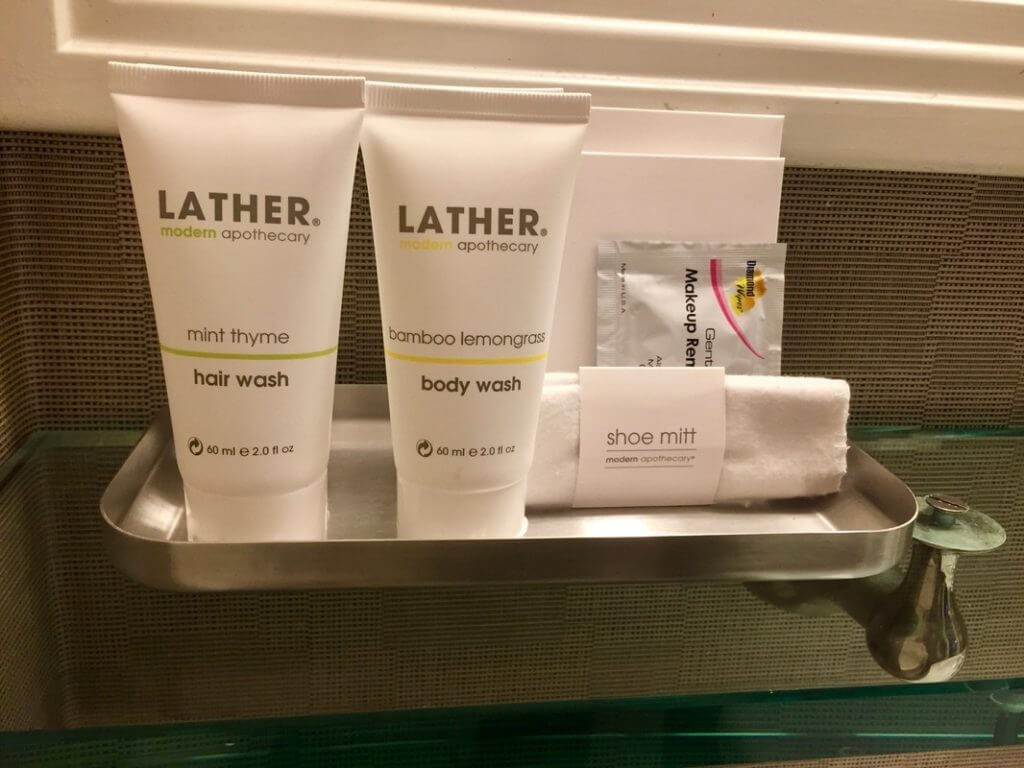 Lather toiletries at Sentinel Hotel