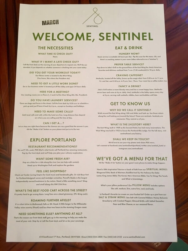 Welcome menu at Sentinel
