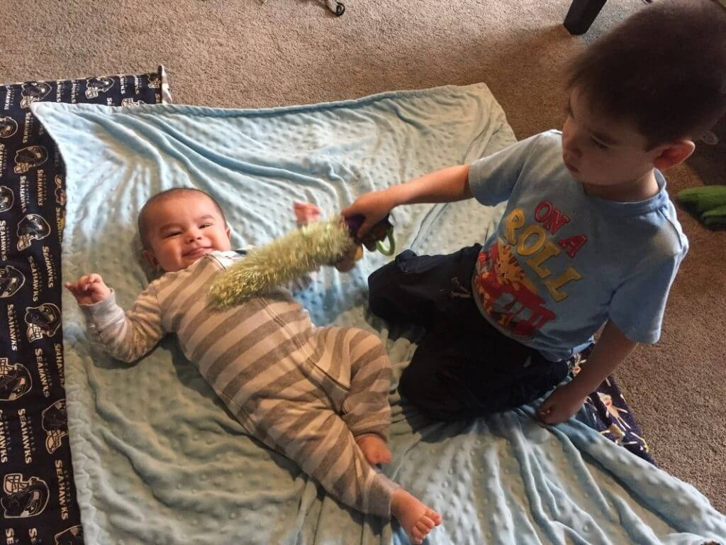 My 3-year-old loves to tickle his little brother with the Yoee Baby.