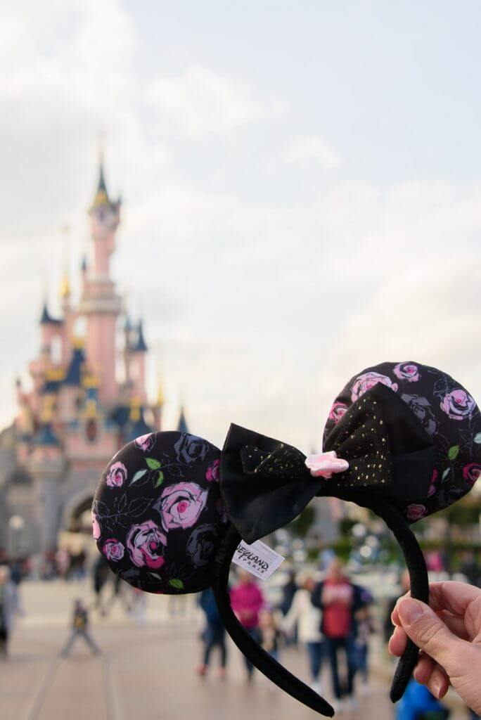 Photo of a Parisian Minnie Mouse headband from our Disneyland Paris day trip.