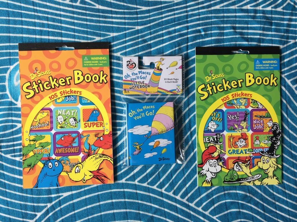 Dr. Seuss stickers and book