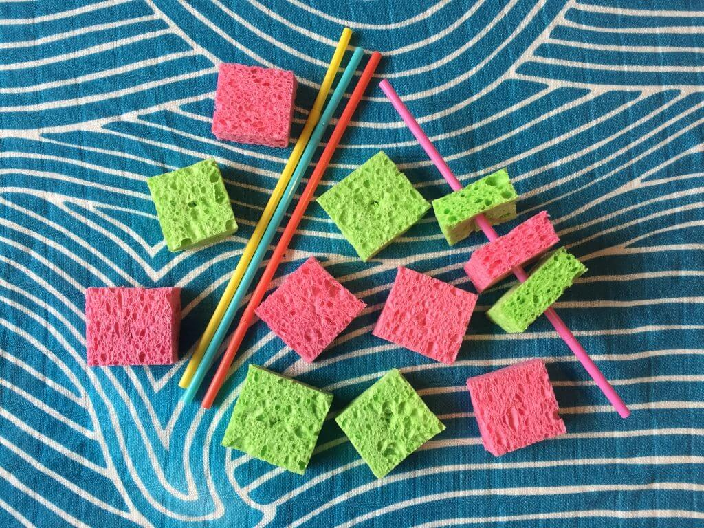 Sponges and Straws busy bag