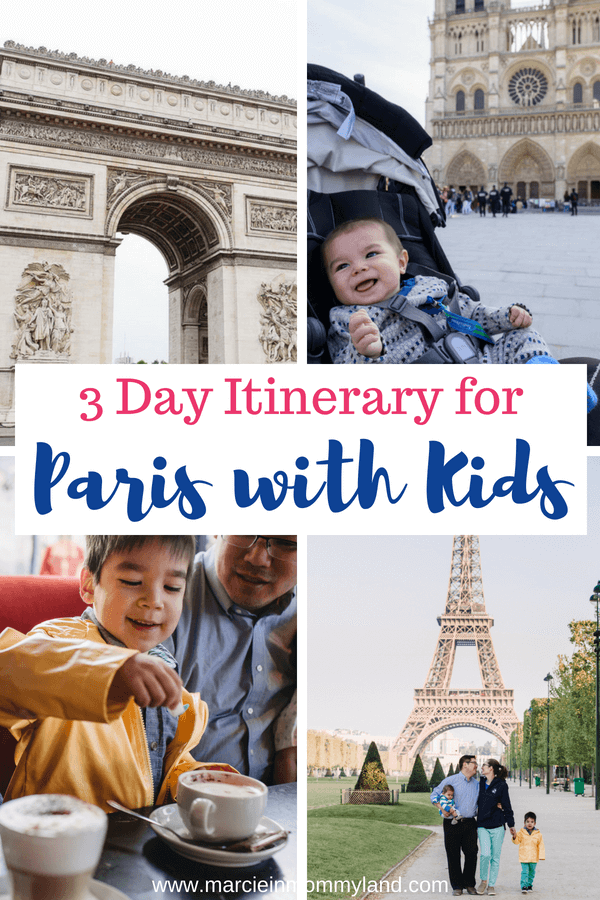 Did you know Paris is a very kid-friendly city? Check out my 3 day itinerary for Paris with kids. Click to read more or pin to save for later. www.marcieinmommyland.com #paris #pariswithkids #familytravel #parisfrance #eiffeltower #arcdetriomphe #notredame #travelwithkids