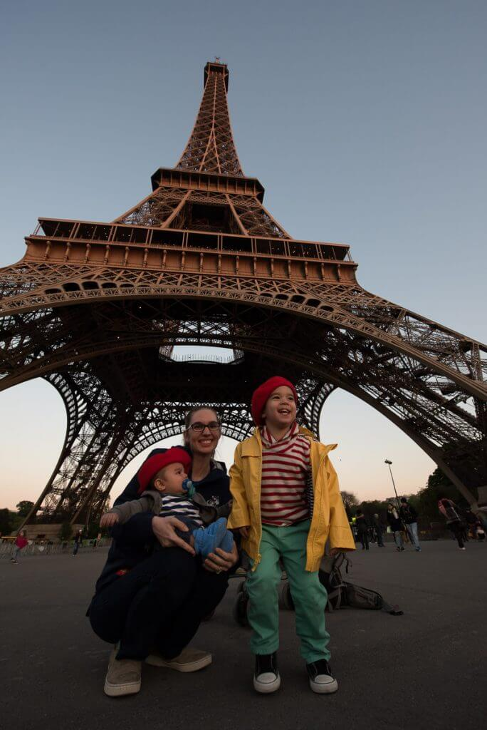 Obligitory photo of the Eiffel Tower in Paris with Kids
