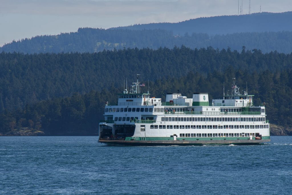 Photo of the Washington State Ferry, which is a San Juan Island ferry from Anacortes, WA and is How to get to San Juan Island and Friday Harbor #sanjuanisland #washingtonstate #pnw #fridayharbor #ferry #sanjuanislands