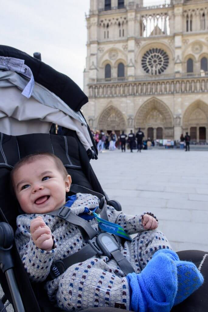 Notre Dame in Paris with a Baby was on the itinerary of what to do in Paris in 3 days