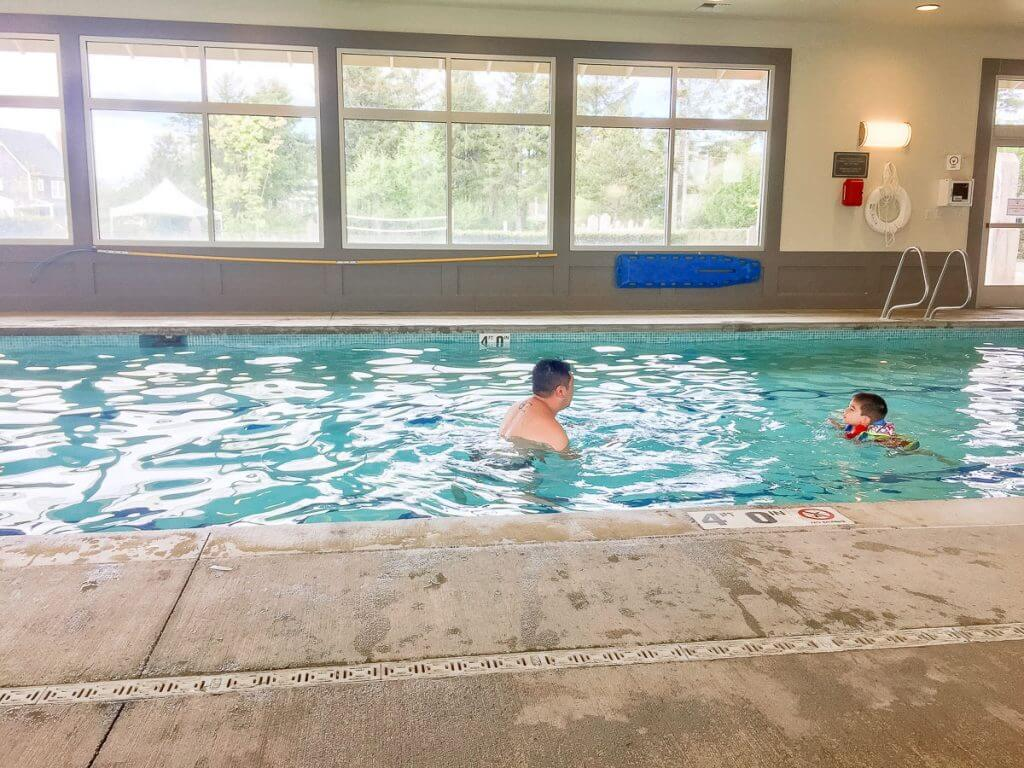 Photo of the indoor heated pool in the Seabrook community in Pacific Beach, WA #seabrook #seabrookwa #pnw #pacificnorthwest #washingtonstate