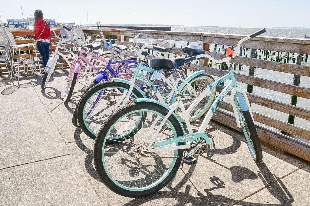 Photo of complimentary bicycles at the Cannery Pier Hotel & Spa in Astoria, Oregon, which is a fun thing to do in Astoria #complimentary #hotelamenity #cannerypierhotel #astoriaoregon
