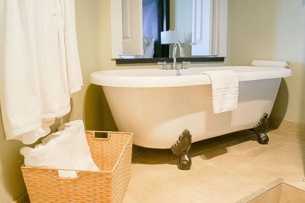 Photo of the clawfoot bathtub at the Cannery Pier Hotel & Spa in Astoria, Oregon, which is a top Astoria, Oregon hotel. #clawfoottub #clawfoot #travelastoria #cannerypierhotelandspa #cannerypier