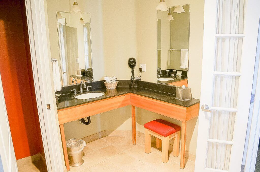Photo of the Astoria, Oregon Cannery Pier Hotel & Spa vanity area of the bathroom #boutiquehotel #travelastoria #astoriaoregon #astoriahotel #girlsgetaway