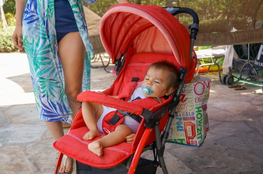 My 10-month-old took several naps in this travel stroller. Photo credit: Darren Cheung