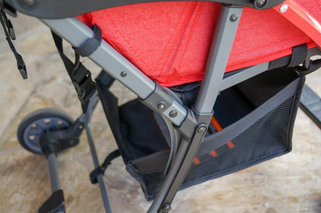 The storage basket is pretty small and only really accessible in the back of the stroller. Photo credit: Darren Cheung