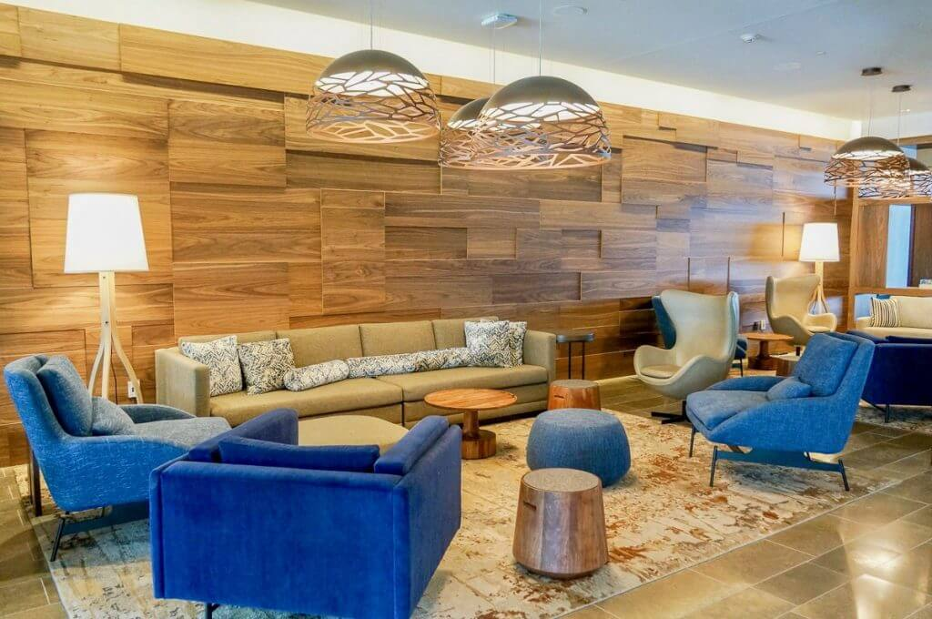 The lobby of the Hyatt Regency Lake Washington Hotel in Renton, WA has a modern Pacific Northwest vibe.