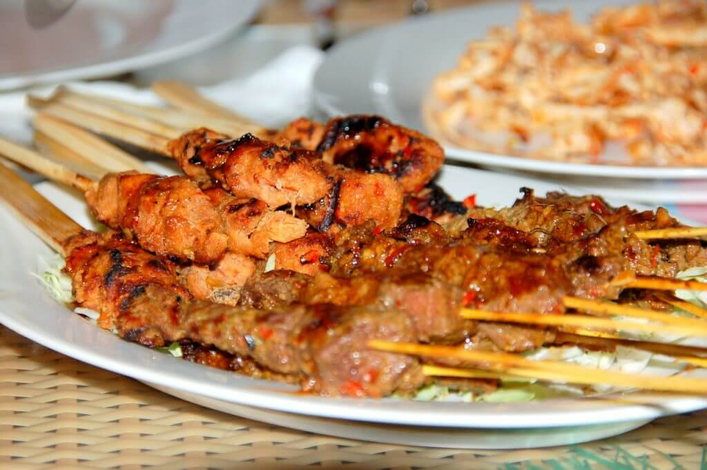 Chicken satay in Bali