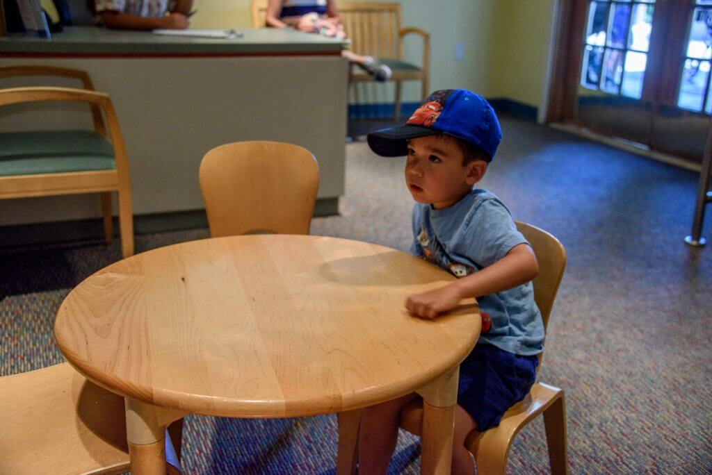 The Disneyland Baby Care Center at Disneyland Resort with a 3 year old