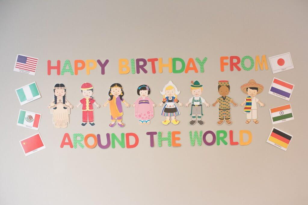 Happy Birthday from Around the World party theme from Oriental Trading