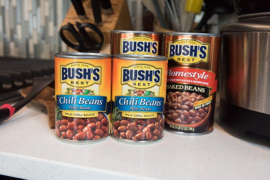 Pour Bush's Chili Beans and Bush's Baked Beans into crock pot.