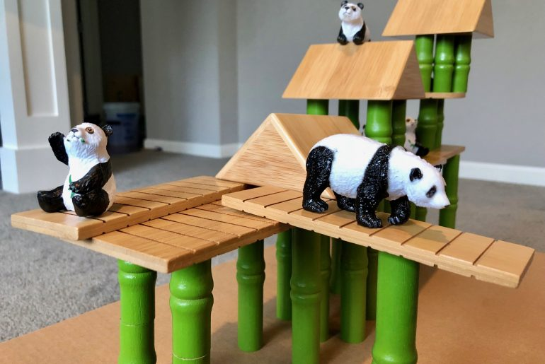 Lakeshore Panda Bamboo Village Playset for Preschoolers| the Best Wooden Toys for Toddlers featured by top Seattle mommy blog, Marcie in Mommyland