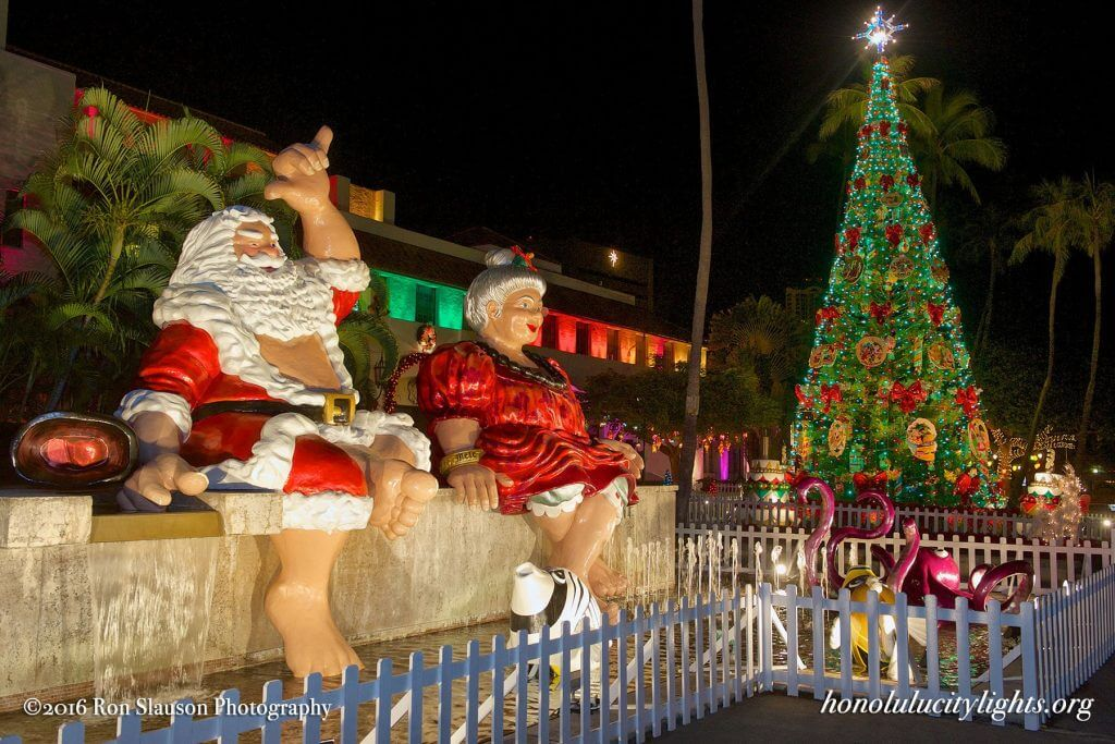 The Best Warm Places to Visit in December in the USA featured by top US travel blogger, Marcie in Mommyland: Honolulu City Lights is a must-see holiday event on Oahu