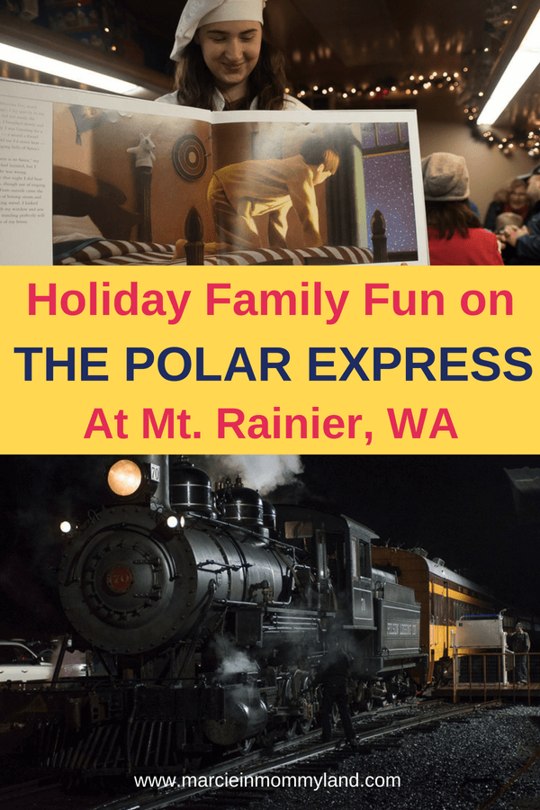 Looking for Seattle-area holiday family activities? Take a ride on The Polar Express at Mt. Rainier where you can saw hello to Santa himself! Click to read more or pin to save for later. www.marcieinmommyland.com #polarexpress #mtrainier #visitrainier #seattle #seattlewa #christmas #train #trainride