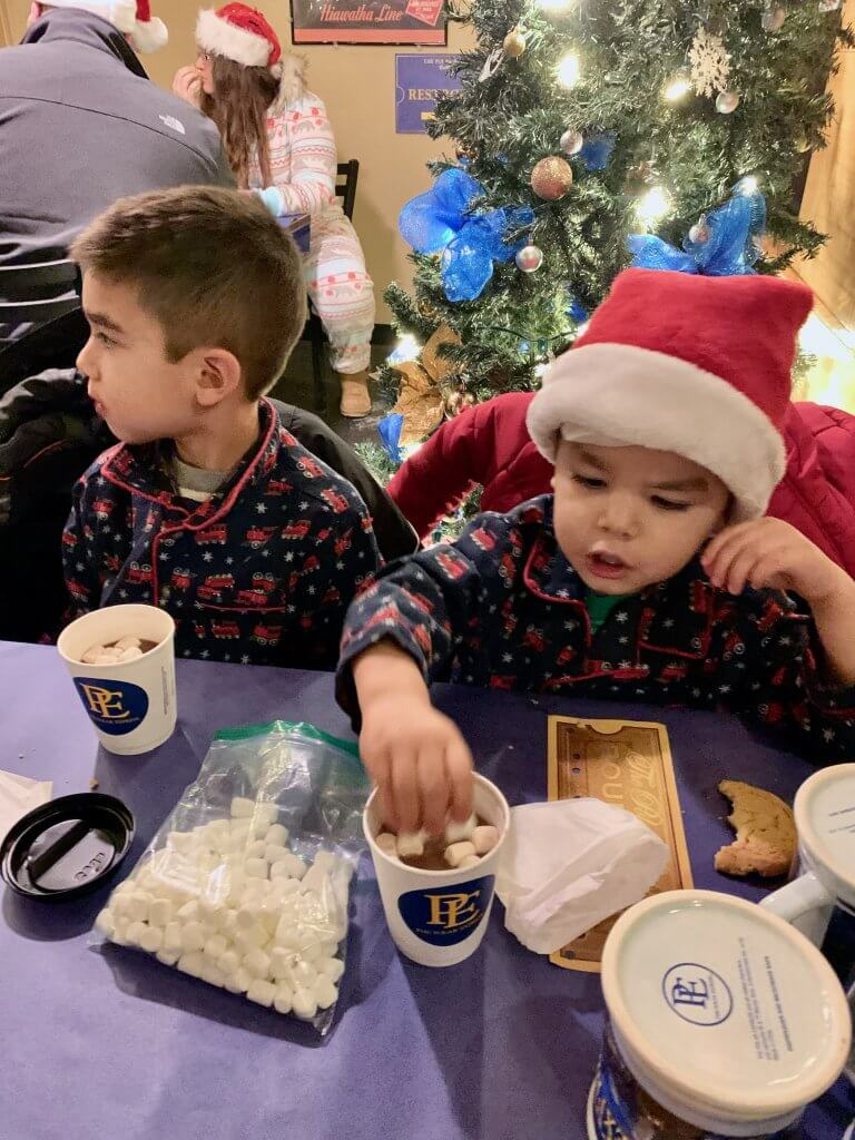 All Aboard the Polar Express™ Train Ride at Mt Rainier Railroad and Logging Museum review featured by top Seattle blogger, Marcie in Mommyland: Bring your own marshmallows for an extra treat when you sip hot chocolate on The Polar Express Train Ride