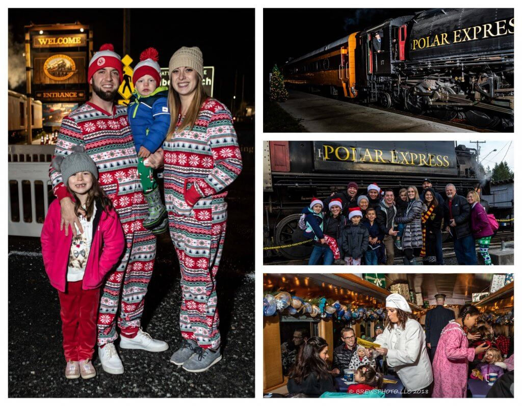 All Aboard the Polar Express™ Train Ride at Mt Rainier Railroad and Logging Museum review featured by top Seattle blogger, Marcie in Mommyland: Collage of photos of what to wear on The Polar Express Train Ride in Mount Rainier