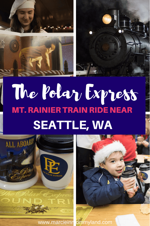 Hop on board The Polar Express, a Mt. Rainier train ride holiday experience near Seattle, WA. Click to read more or pin to save for later. www.marcieinmommyland.com #thepolarexpress #train #mtrainier #mountrainier #visitrainier #washingtonstate #pnw #pacificnorthwest #holidays #christmas #santa