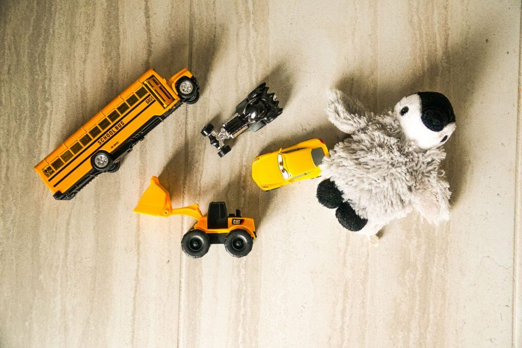 Small toys can keep kids occupied during a crisis situation.