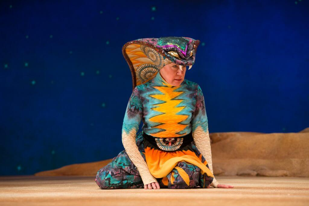 Anne Allgood did an amazing job with her character Snake at Seattle Children's Theatre's production of The Little Prince. Photo credit: Elise Bakketun