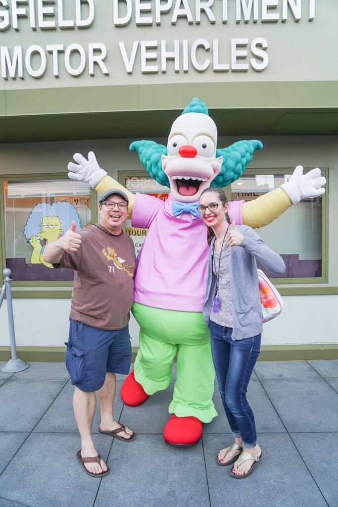 Photo op with Krusty the Clown in Springfield before The Simpsons Ride at Universal Studios Hollywood