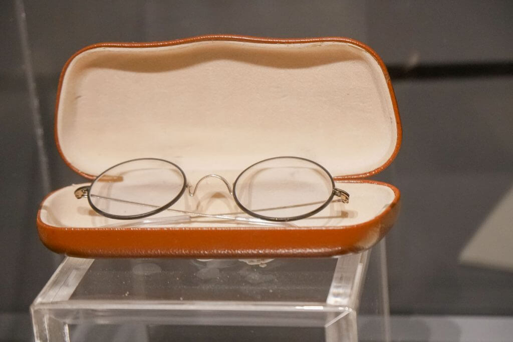 The glasses from Harry Potter are on display at the Warner Bros. Studio Tour