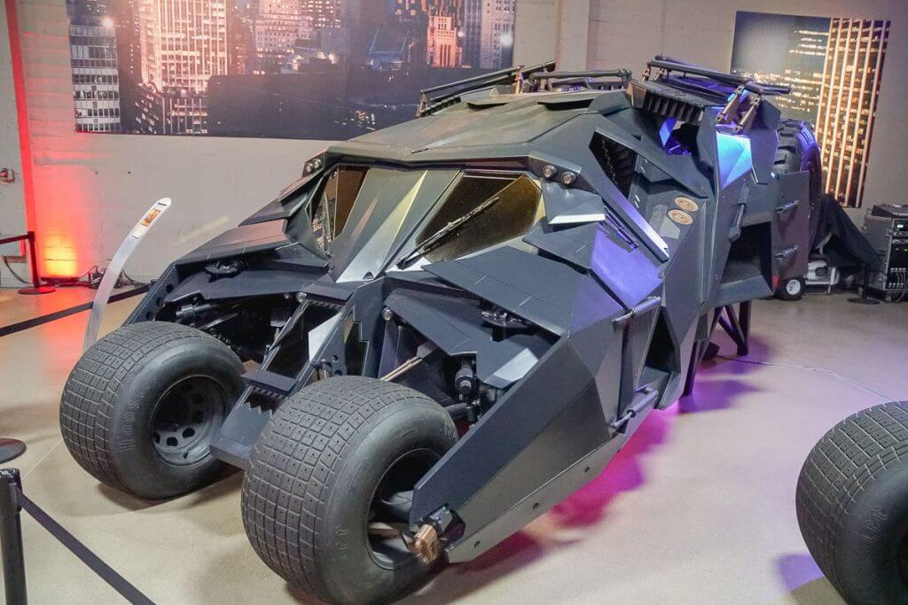 This vehicle from Batman is one of the most expensive cars in the 75 years of Batman exhibit at Warner Bros. Studio in Hollywood