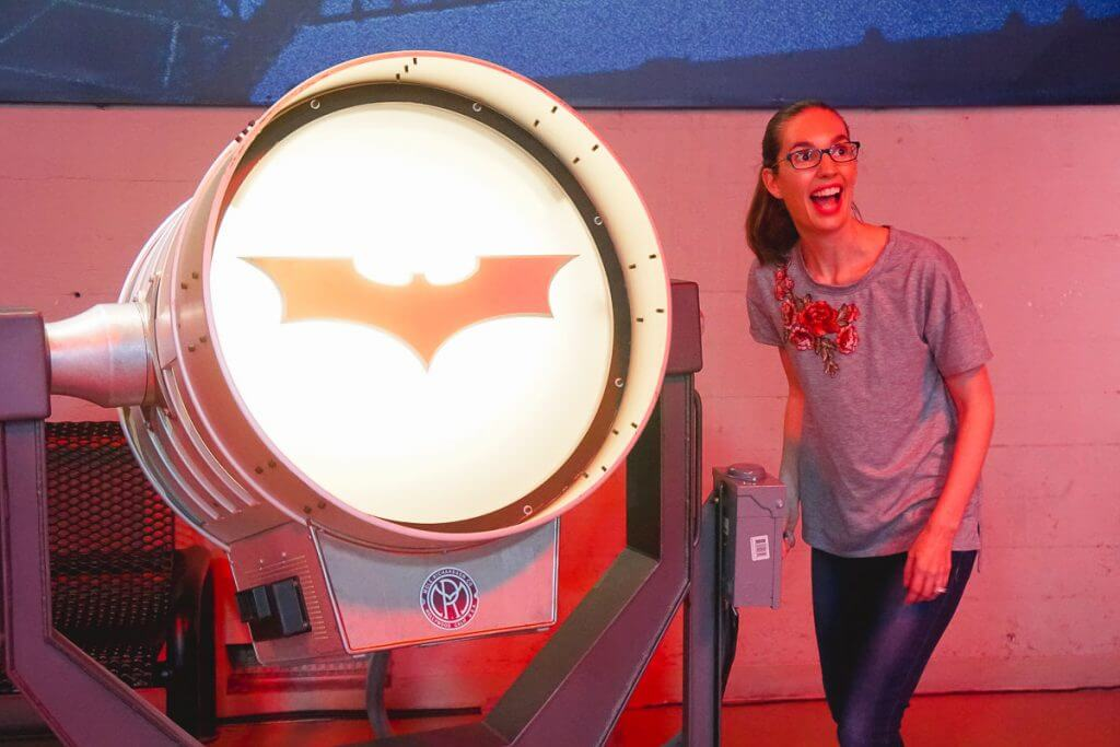 Guests can turn on the Bat Signal on the Warner Bros. Studio Tour in Hollywood celebrating 75 years of Batman