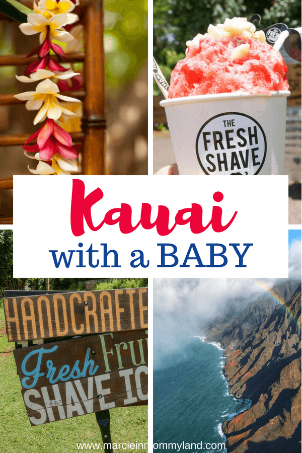 Get my top tips for exploring Kauai with a baby. Find out the best kid-friendly beaches, restaurants and family activities on Kauai, Hawaii. Click to read more or pin to save for later. www.marcieinmommyland.com #kauai #hawaii #familytravel #hawaiianvacation #kauaiwithababy
