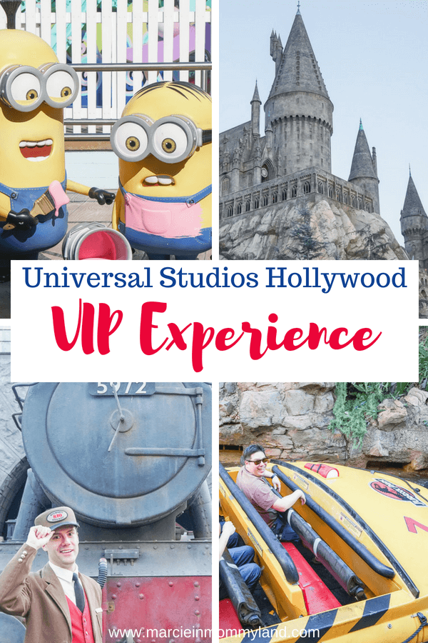 Heading to Los Angeles? Find out why you should get the VIP Experience at Universal Studios Hollywood. Jump to the front of every ride line, get a fancy lunch in a private restaurant, explore TV sets and backlots, get valet parking, and more! Click to read more or pin to save for later. www.marcieinmommyland.com #losangeles #universalstudioshollywood #VIP #california #universalstudios #wizardingworldofharrypotter #harrypotter #minions