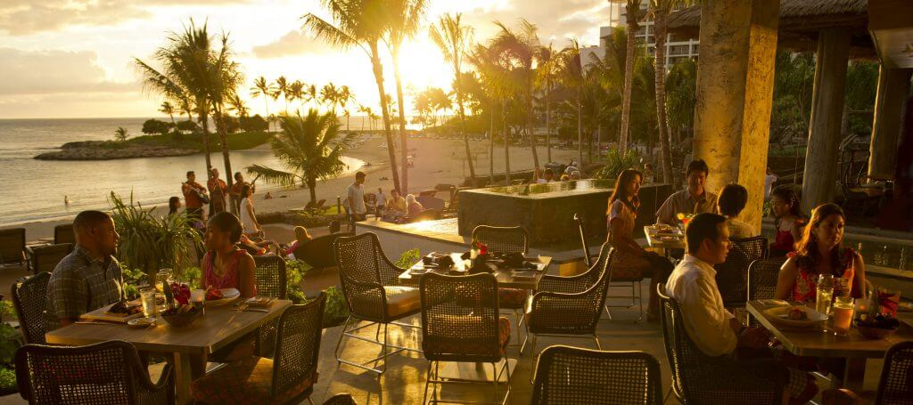 Ama Ama restaurant is on Ko Olina beach on Oahu