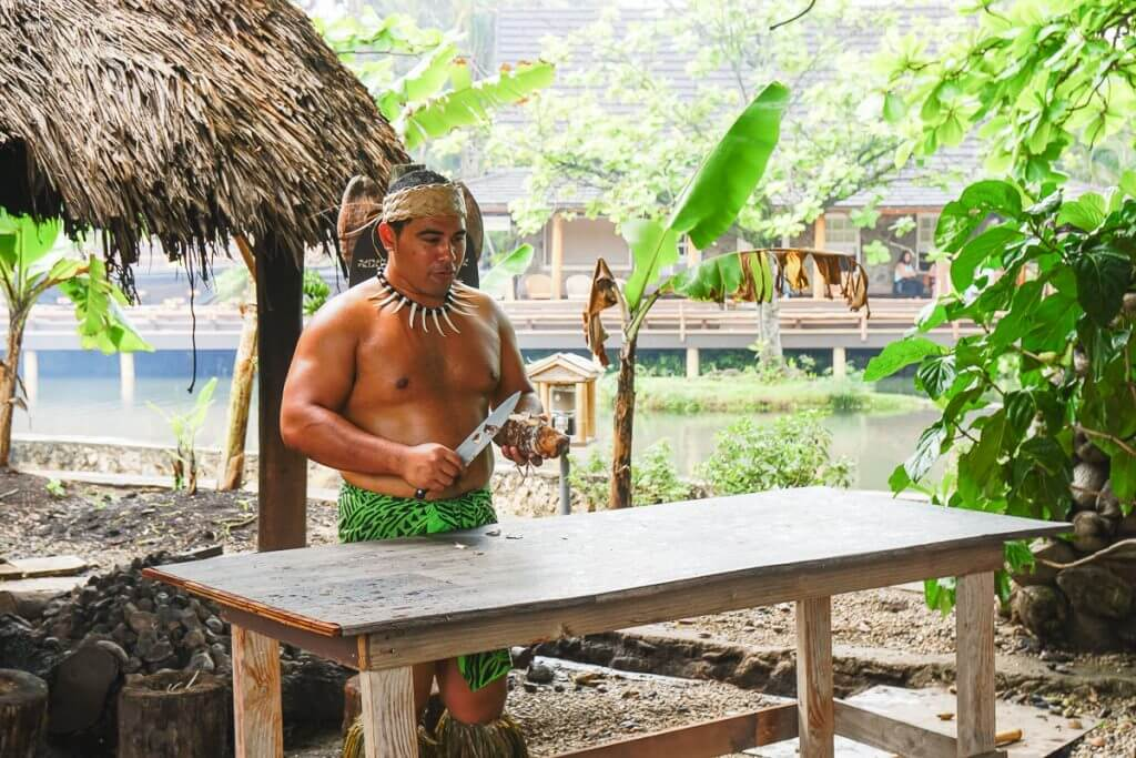 The Samoan Village offers lots of family activities on oahu at the Polynesian Cultural Center in Laie, Hawaii